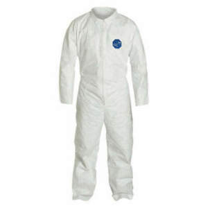 Dupont Ty120s Tyvek Coverall W collar Zipper Front Open Sleeves Bunny Suit Sz M