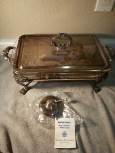 J B Rogers Silver Covered Casserole Glass Insert Chaffing Burner Free Ship Vgc