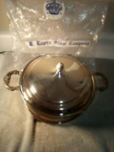 J B Rogers Silver Covered Casserole Pyrex Insert Footed Handles Free Ship Vgc