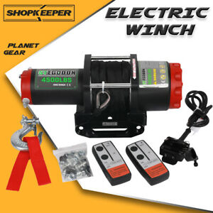Stegodon Electric Winch 4500lbs 12v Synthetic Rope Tow Truck Atv Utv Offroad Boa