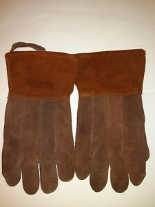 Vintage Cowhide Leather Welding Gloves Extra Large 13 Inch Long