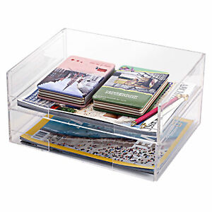 Deluxe Stacking Acrylic Document Paper Trays Desktop Organizer Racks Set Of 2