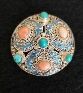 Sterling Chinese Filigree Blue Enamel Angel Coral And Turquoise Brooch Pin