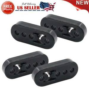 Pack Of 4 Universal Polyurethane Adjustable Muffler Black Exhaust Rubber Hangers