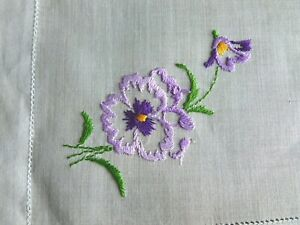 Pretty Vintage Lavender Hanky Embroidered Pansy Sheer Linen Hemstitching