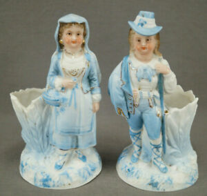 Pair Of German Hand Painted Blue White Bisque Figurine Spill Vases Circa 1870s