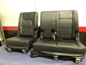 2019 Ford Explorer Second Row Rear Seats 2nd Seat Black Vinyl Leather Look