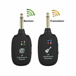 NEW Guitar WIRELESS System Transmitter Receiver rechargeable USA BASS UHF HOME $25.49