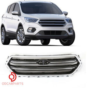 Fits Ford Escape 2017 2018 2019 Front Upper Grille Grill Gloss Black And Chrome