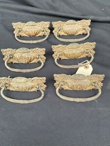 6 Antique Victorian Stamped Brass Drawer Door Pulls With Drop Handles