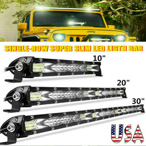 10 20 30 Slim Led Light Bar Work Single Row Spot Flood Combo Offroad 4wd Us