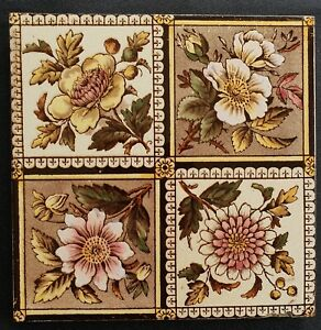 Aesthetic Floral Print And Coloured Tile C1890