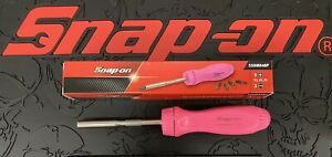 Snap On Tools Screwdriver Pink Hard Handle Ratcheting W 5 Bit Tips Brand New