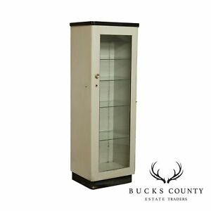 Vintage Art Deco Metal One Door Medical Display Cabinet