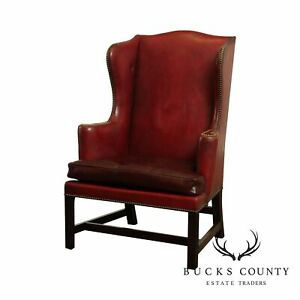 Kittinger Chippendale Style Mahogany Colonial Williamsburg Wingchair