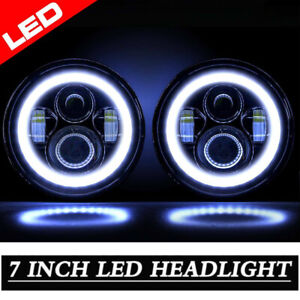 7 Inch Black Round Led Angel Eyes Wrangler Headlight Fit For Harley Jeep