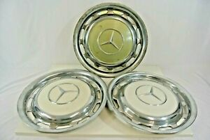Mercedes Benz Repro Repop 15 Inch Wheel Cover Hub Caps Hubcap Lot Of 3 White Tan