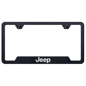 Licensed Rugged Black Cut out License Plate Frame Laser Etched For Jeep