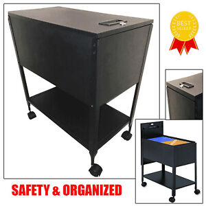 File Rolling Cart With Lid Letter Size Hanging Files Locking Organizer Office