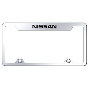Name Laser Etched On Chrome Stainless Cutout Top License Plate Frame For Nissan