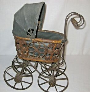Vintage Wicker Baby Doll Carriage Buggy Strollers Home Decor Planter Victorian