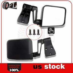 Manual Side Mirrors For 1987 2002 Jeep Wrangler