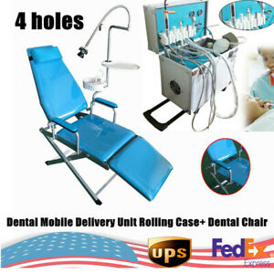 4 holes Dental Delivery Unit Rolling Case weak Suction air Compressor chair Ups