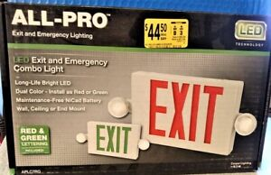 All pro Led Combo Exit Sign Emergency Light Unit Red green New
