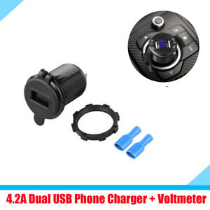 1x Dual Usb Cigarette Lighter Charger Adapter Socket Blue Led Digital Voltmeter
