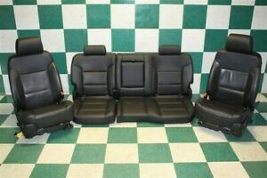 14 18 Silverado Crew Black Leather Heated Cooled Memory Front Rear Bench Seats