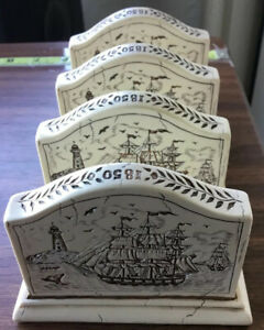 Vintage Scrimshaw Look Clipper Ship Business Card Holders Lot Set Of 4 X