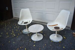 Vtg Mcm Knoll Tulip Chair Pair And Base 50 S 60 S Danish Modern Need Resto