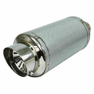Exhaust Muffler Silver Carbon Fiber Stainless Steel Adjustable Silencer Dtm 204s