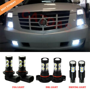6x White Led Fog Driving Drl Light Bulbs Combo Kit For 2007 14 Cadillac Escalade