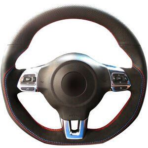 Black Leather Suede Steering Wheel Cover For Vw Golf 6 Gti Mk6 Polo Gti Scirocco