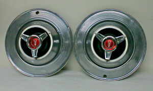 Vtg Pair 1964 Plymouth 14 Inch Spinner Syle Hubcaps Fury Sport B Body Mopar