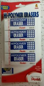 Pentel Hi polymer Eraser Rectangular Medium White Latex free Hi polymer 4 count