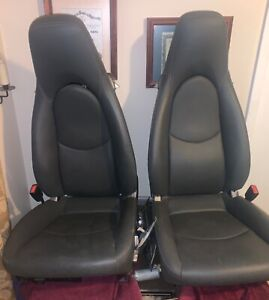 Porsche 997 987 911 Front Seats Power Left Right Pair Grey Gray Leather Airbags