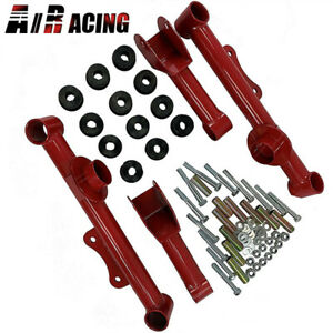 Red Racing Rear Upper Lower Tubular Control Arms Fit 79 04 Ford Mustang Gt Lx