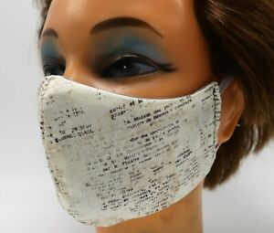 Book Page Print Washable Cloth Face Mask Reusable Cotton Facial Cover Literary