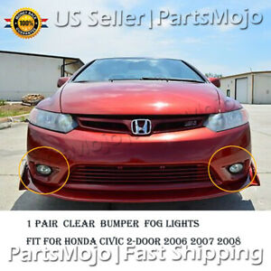 For Honda Civic 2 door 2006 2007 2008 White Lamps Front Bumper Clear Fog Lights