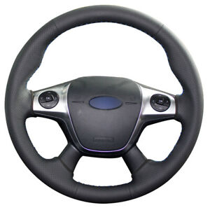 Black Leather Car Steering Wheel Cover For Ford Focus 3 2012 2014 Kuga 2013 2016