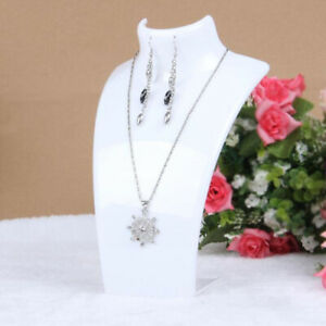 Acrylic Necklace Pendant Display Bust Mannequin Stand Holder White