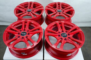 14x6 4x100 4x114 3 Red Rims Fits Hyundai Accent Elantra Tiburon Mx5 4 Lug Wheels