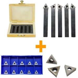 1 4 Indexable Carbide Insert Lathe Turning Tool Bit 10 Pc Tips Combo 5 Pc
