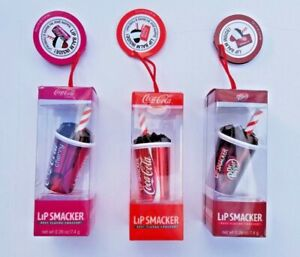 Lip Smacker Coca Cola Dr. Pepper Crerry Coke Lip Balm LOT OF 3 Stocking Stuffers