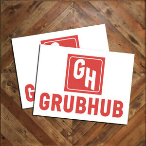 Pair 2 Of Food Delivery Service Magnetic Car Door Signs Grubhub 9x12 Free Ship