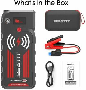 Car Jump Starter Beatit 21000 Mah Power Charge With Wireless And Led Flash Light