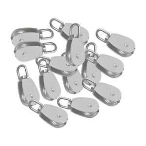 14pcs M15 15mm Silver Swivel Sheave Eye Rigging Pulley Block Stainless Steel