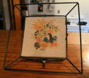 Vintage Fiberglass Lamp Bird And Flowers Wall Sconce Light Box